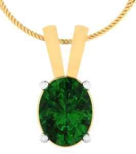 IskiUski Emerald 14kt Swarovski Crystal Yellow Gold Pendant