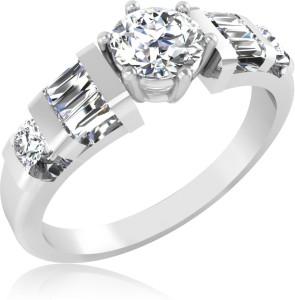 2011e6fa5b08 IskiUski Beautiful Design 14kt Swarovski Crystal Platinum ringPlatinum  Plated