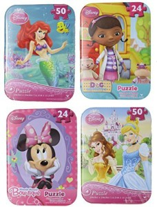 Disney Princess Little Mermaid Doc Mcstuffins And Minnie Mouse Bow Tique  Puzzles In Tin Case 5 8efee98436e