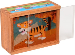 Rk Cart Wooden Cube Puzzle Wild Animals6 Pieces