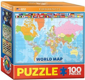 EuroGraphics World Map for Kids Mini Jigsaw Puzzle 100 Piece Best ...