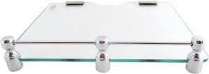 Royal Indian Craft RIC373 Brass Bracket Transparent Multi-Purpose Set Top Box/Speaker Glass Wall Shelf