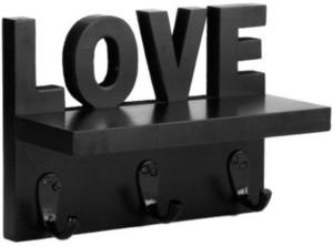 Onlineshoppee Love Design Wooden, Iron Wall Shelf
