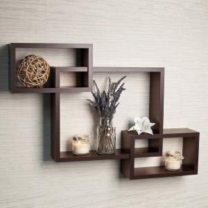 DriftingWood Intersecting Wooden Wall Shelf