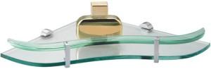 RoyaL Indian Craft 12 Inch Sea Green Heart Shape Glass Wall Shelf