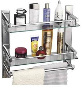 Device In Lion GLASS SHELF WITH DOUBLE TOWEL ROD Steel Wall Shelf