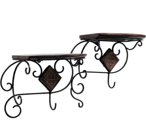 Woodenclave Duple Iron, Wooden Wall Shelf