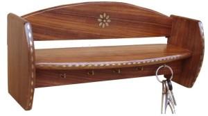 Saaga Wooden, Brass Wall Shelf