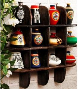 Onlineshoppee Beautiful Black 3 Tier Wooden Wall Shelves/Rack Size Lxbxh-20x4x20 Inch Wooden Wall Shelf
