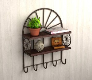 Home Sparkle Carriage Style Wooden, Iron Wall Shelf