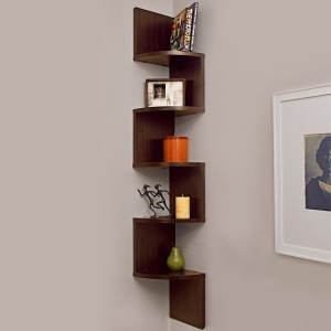 Custom Decor Zig Zag Corner Wooden Wall Shelf