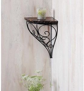 khan handicrafts Iron, Wooden Wall Shelf