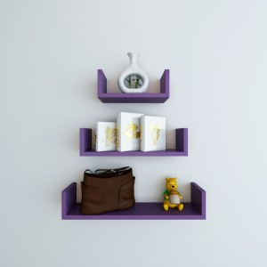 DecorNation U Shape Wooden Wall Shelf