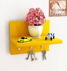 huzain hancdicrafts key holder & wall shelf Wooden Wall Shelf