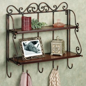 Onlineshoppee Antique Look Foldable Iron Wooden Wall Shelf