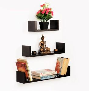 Bluewud Wall Book Shelf Caesar - 3 Shelves Wooden Wall Shelf