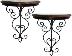 Inspired Livingg Set Of 2 Beautiful Wood & Iron Hand Forged Wall Bracket Iron, Wooden Wall Shelf
