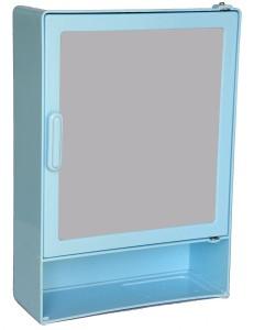 Zoom Zoom Good Morning Bathroom Mirror Cabinet (Shelf) Plastic Mirror Storage Chest (40.64 x 10.6 x 30.48, Blue, Ivory, Pink, Z102CSH) (BLUE) Plastic Wall Shelf
