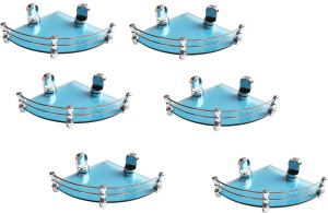 Royal Indian Craft (Pack of 6) Queen Bracket Energetic Blue Glass 8 By 8 Inch Glass Wall Shelf