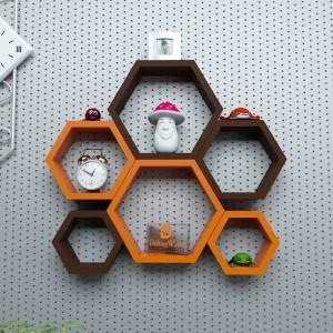 DriftingWood Hexagon Shape Wooden Wall Shelf