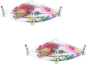 Royal Indian Craft Round Brass Bracket 8 by 8 Inch Heart printed Glass Wall Shelf