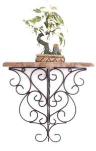 Onlineshoppee Wooden & Wrought Iron Wall Bracket/Rack Wooden Wall Shelf