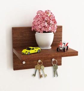 Being Nawab Elite Brownish Key Hanger Wooden Wall Shelf