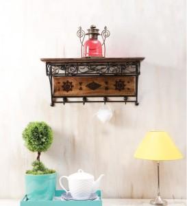 Onlineshoppee AFR1015 Wooden, Iron Wall Shelf