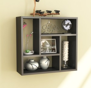 Home Sparkle Square Partitions MDF Wall Shelf