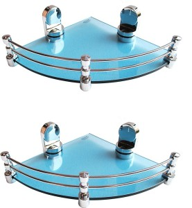 Royal Indian Craft Craft (Pack of 2) Queen Bracket Energetic Blue Glass 8 By 8 Inch Glass Wall Shelf