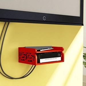 Onlineshoppee Set Top Box Holder cum Remote Organizer Wooden Wall Shelf