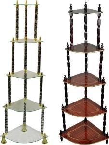 AdevWorld CORNER Glass, Wooden Wall Shelf