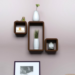 DriftingWood Round Corner Cube & Rectangle Wooden Wall Shelf