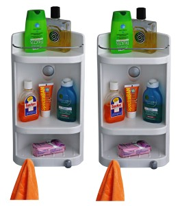 Cipla Plast Caddy Small Corner Cabinet - White (Set of 2) Polypropylene Wall Shelf