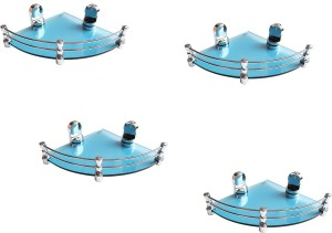 Royal Indian Craft (Pack of 4) Queen Bracket Energetic Blue Glass 8 By 8 Inch Glass Wall Shelf