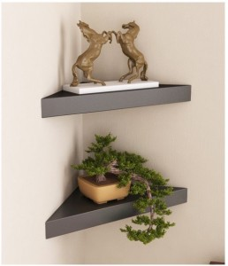 Onlineshoppee Wooden Decorative Wall Shelves For Living Room Empty Wall Corners - Set Of 2 - Black Wooden Wall Shelf