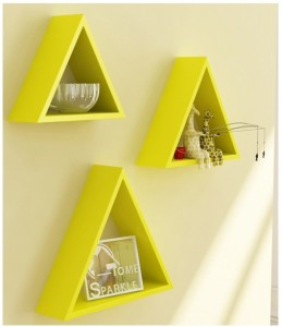 Onlineshoppee Home Decor Premium Solid Wood 3 Triangular Shelves - Yellow Wooden Wall Shelf