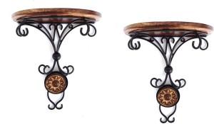 Woodpedlar Pair Wooden, Iron Wall Shelf