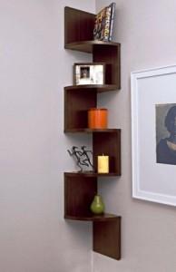 Surya Industries Surya Ind Corner Zigzag - Brown Wooden Wall Shelf MDF Wall Shelf