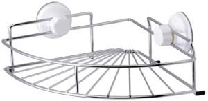 TrendyFurnish Suction Cup Corner Shelf Steel, Polypropylene, Plastic Wall Shelf