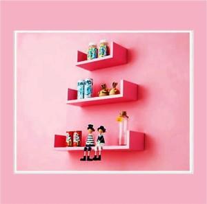Ganeshaas Tropical U Shaped Wall Pink Blush Wooden Wall Shelf