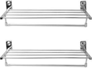 Handy 2ft long Towel Rack pac of 2pcs Stainless Steel Wall Shelf