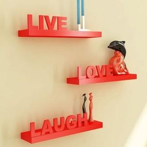 Onlineshoppee Red Wall Shelves Live/Love/Laugh Wooden Wall Shelf