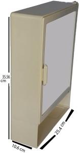 Zoom Zoom Happy Bathroom Mirror Cabinet (Shelf) Plastic Mirror Storage Chest (35.56 x 10.6 x 25.4 cm, Ivory, Blue, Pink, Z114CSH) (IVORY) Plastic Wall Shelf