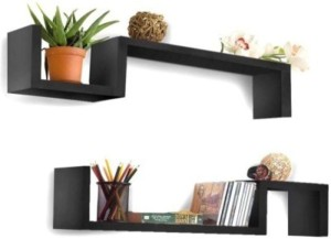 Onlineshoppee Wooden Rack Shelf pack of 2 Wooden Wall Shelf
