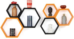 Custom Decor Hexagon Wooden Wall Shelf