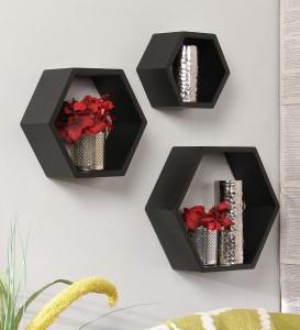 Onlineshoppee Hexagonal Wooden Wall Shelf