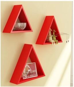 Onlineshoppee Home Decor Premium Solid Wood 3 Triangular Shelves - Red Wooden Wall Shelf