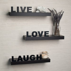 Home Sparkle Live Love Laugh Wooden Wall Shelf