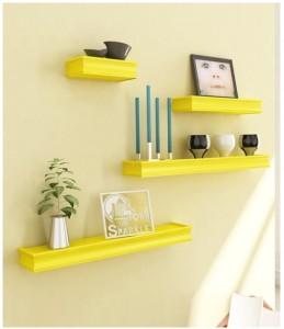 cee087f91f3 Onlineshoppee Beautiful Wooden Yellow Rectangular Wall Shelf Wooden Wall  Shelf